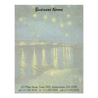 Starry Night Over Rhone by Vincent van Gogh Custom Letterhead