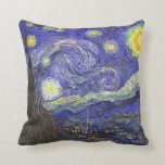 "Starry Night Over Rhone van Gogh Throw Pillow<br><div class=""desc"">The Starry Night (Dutch: De sterrennacht) is a painting by Dutch post-impressionist artist Vincent van Gogh. The painting depicts the view outside his sanitarium room window at night, although it was painted from memory during the day. Since 1941 it has been in the permanent collection of the Museum of Modern...</div>"