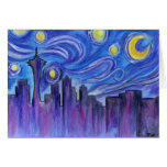 Starry Night Over Seattle Greeting Cards