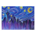 Starry Night Over Seattle Poster