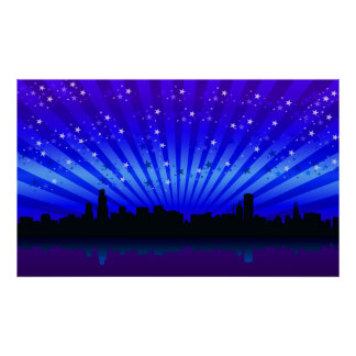 Starry Night Over The City Bay Poster