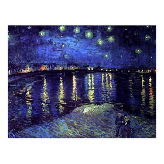 starry night over the rhone 1890 postcard