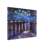Starry night over the Rhone by Van Gogh Stretched Canvas Print