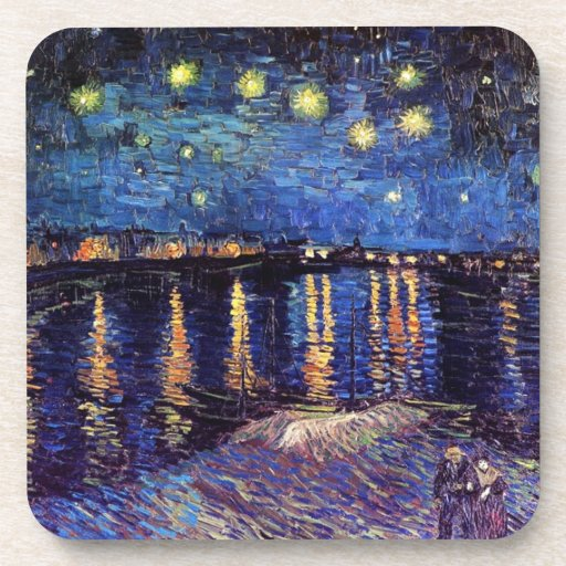 Starry night over the Rhone by Van Gogh Drink Coaster
