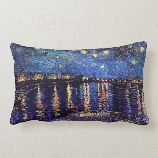 Starry night over the Rhone by Van Gogh Lumbar Pillow