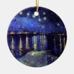 Starry night over the Rhone by Van Gogh Christmas Tree Ornament