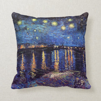 Starry night over the Rhone by Van Gogh Throw Pillows