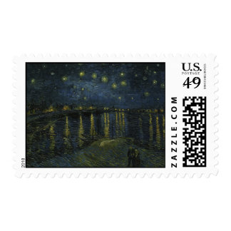 Starry Night Over the Rhone by Van Gogh Postage Stamp