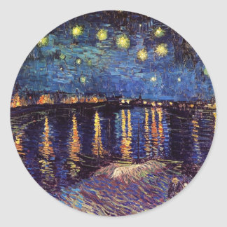 Starry night over the Rhone by Van Gogh Classic Round Sticker