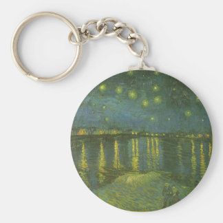 Starry Night Over the Rhone by Vincent van Gogh Basic Round Button Keychain