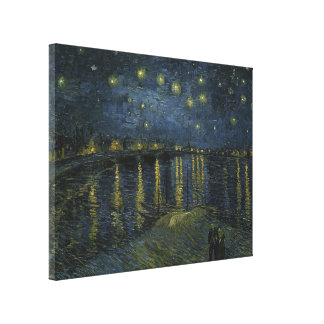 Starry Night Over the Rhone by Vincent Van Gogh Stretched Canvas Print