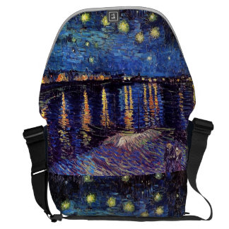 Starry Night over the Rhone, by Vincent van Gogh. Messenger Bag