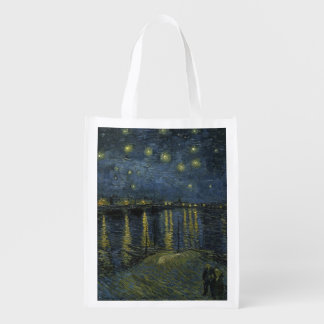 Starry Night Over the Rhone by Vincent Van Gogh Grocery Bags