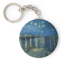 Starry Night Over the Rhône Keychain