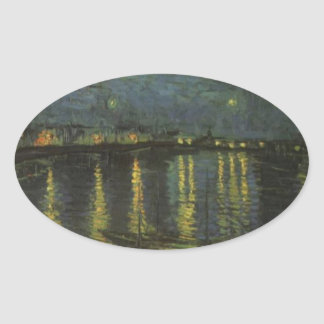 Starry Night Over the Rhone Oval Sticker