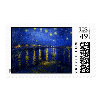 Starry Night Over The Rhone Postage Stamp