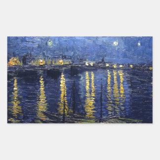 Starry Night Over the Rhone Rectangular Sticker