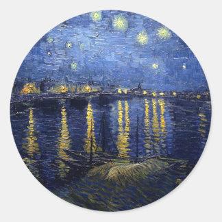 Starry Night Over the Rhone Classic Round Sticker