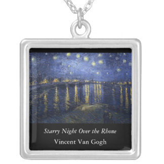 Starry Night Over the Rhone - Van Gogh (1888) Square Pendant Necklace