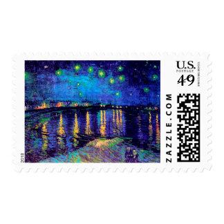 Starry Night Over the Rhone Van Gogh Fine Art Stamp