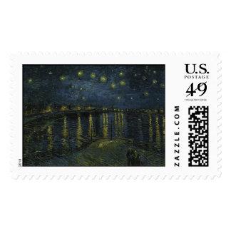 Starry Night Over the Rhone - Van Gogh Postage Stamp