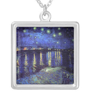 starry night over the rhone van gogh square pendant necklace
