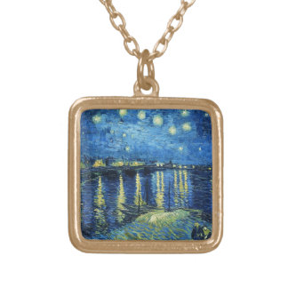 Starry Night over the Rhone Vincent van Gogh Gold Plated Necklace