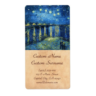 Starry Night over the Rhone Vincent van Gogh Label