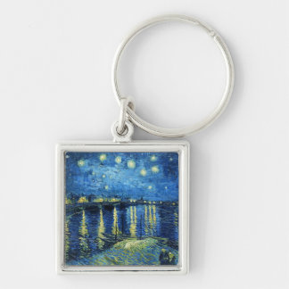 Starry Night over the Rhone Vincent van Gogh Silver-Colored Square Keychain