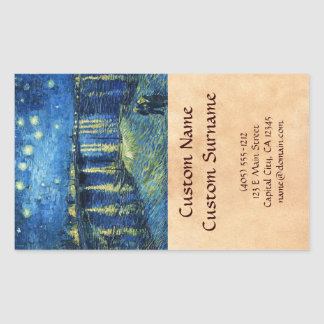 Starry Night over the Rhone Vincent van Gogh Rectangular Sticker
