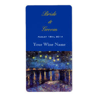 Starry Night over the Rhone wedding wine labels Custom Shipping Label