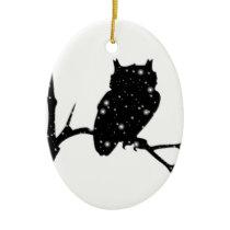 Starry Night Owl Ceramic Ornament