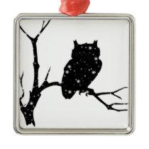 Starry Night Owl Metal Ornament