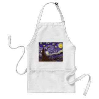 Starry Night painting by artist Vincent Van Gogh Adult Apron