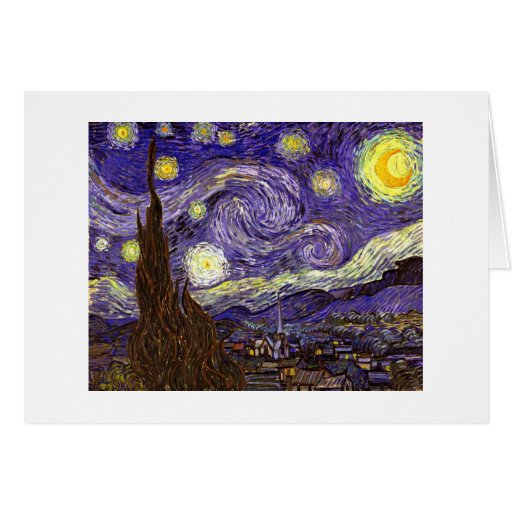 Starry Night painting by artist Vincent Van Gogh Cards