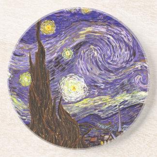 Starry Night painting by artist Vincent Van Gogh Beverage Coasters