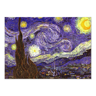 Starry Night painting by artist Vincent Van Gogh 5x7 Paper Invitation Card