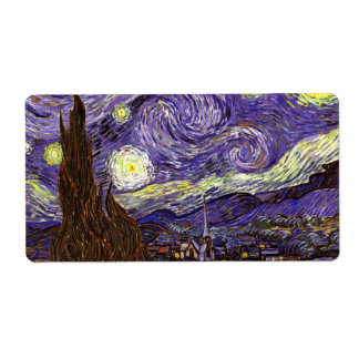Starry Night painting by artist Vincent Van Gogh Shipping Label