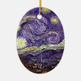 Starry Night painting by artist Vincent Van Gogh Double-Sided Oval Ceramic Christmas Ornament