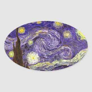 Starry Night painting by artist Vincent Van Gogh Oval Sticker