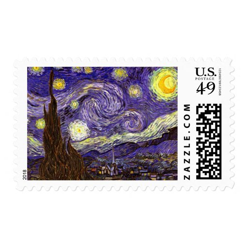 Starry Night painting by artist Vincent Van Gogh Postage Stamp