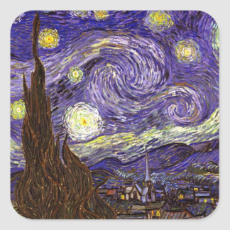 Starry Night painting by artist Vincent Van Gogh Square Sticker