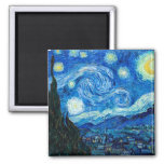 Starry Night Painting By Painter Vincent Van Gogh 2 Inch Square Magnet