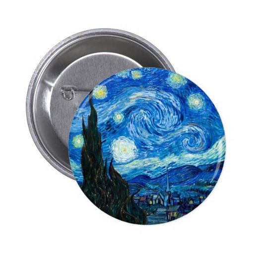 Starry Night Painting By Painter Vincent Van Gogh Button