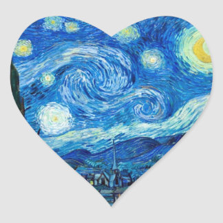 Starry Night Painting By Painter Vincent Van Gogh Heart Sticker