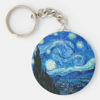 Starry Night Painting By Painter Vincent Van Gogh Basic Round Button Keychain