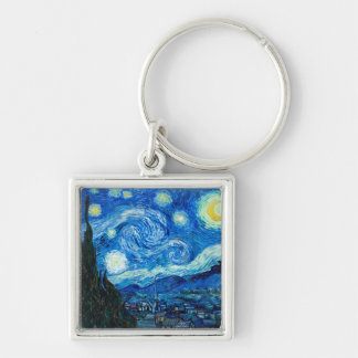 Starry Night Painting By Painter Vincent Van Gogh Silver-Colored Square Keychain
