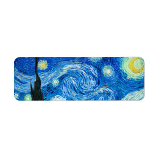 Starry Night Painting By Painter Vincent Van Gogh Label