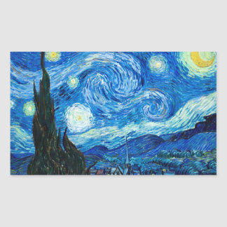 Starry Night Painting By Painter Vincent Van Gogh Rectangular Sticker