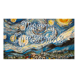 Starry Night painting repaint Merry Christmas Business Card